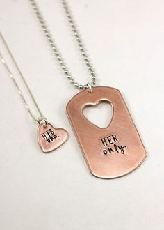 Her One-His Only-Matching Couple's Necklace by TagYoureItJewelry: