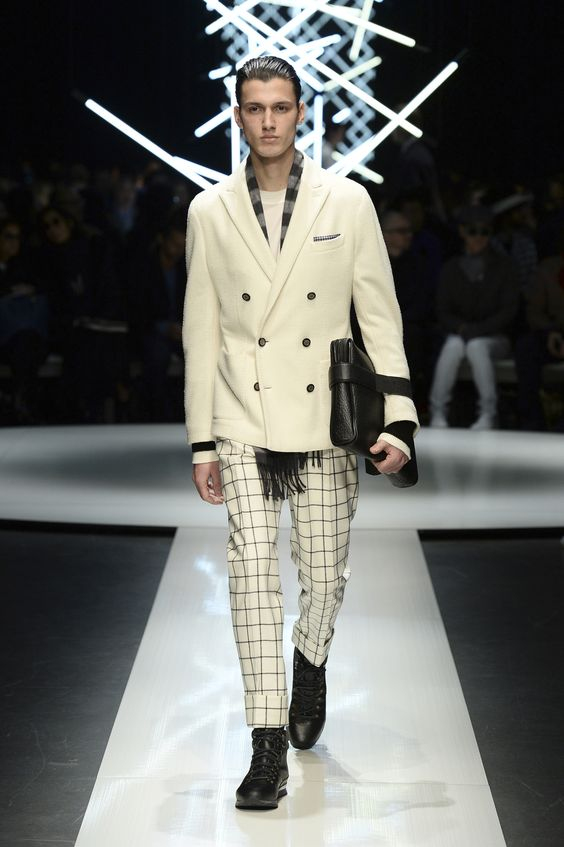 Wool and cotton jacket, check pants, calfskin document holder and high-top shoes with contrasting details #CanaliFW15 #FW15 #menswear #moda #mfw #mensfashion