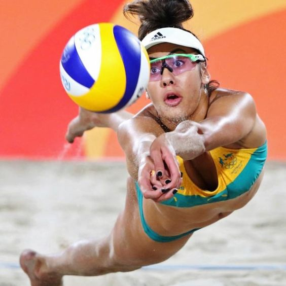 Taliqua Clancyof Australia competes in theWomen's Beach Volleyball…