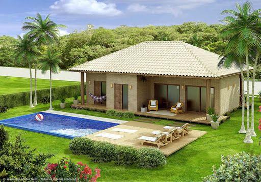 Modelo de casas de campo con piscina