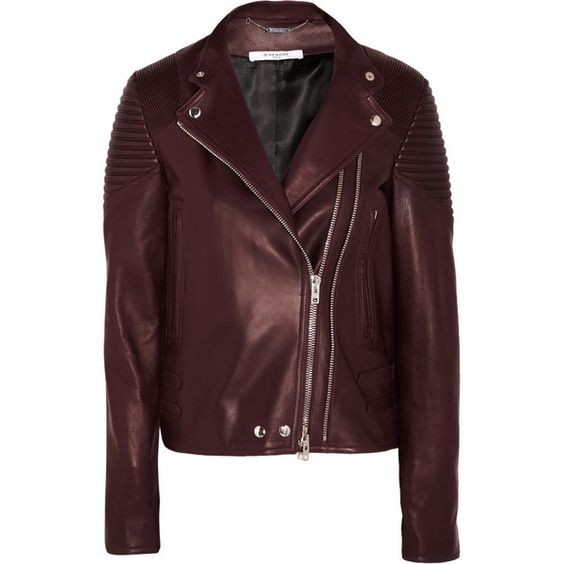 Givenchy Biker jacket in merlot leather (€3.990) ❤ liked on Polyvore featuring outerwear, jackets, leather motorcycle jacket, givenchy, brown jacket, brown leather jackets and givenchy jacket