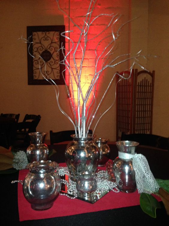 Silver and red Christmas centerpieces