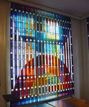 Farbige Fenster, Synagoge Löwenstrasse Zürich