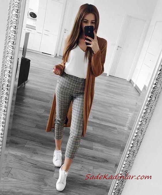 2019 Gri Pantolon Kombinleri Gri Ekose Desenli Kalem Pantolon Beyaz Bluz Kahverengi Uzun Hirka Beyaz Spor Ayakkabi Moda Tarz Moda Moda Stilleri