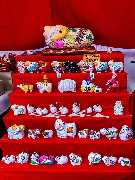 "Asakusa Toshi no Ichi 9/11 2015 is the Year of the Sheep so some stand were selling various sheep or ram figures as ""engimono"" (good luck charms) #Asakusa, #Toshi, #Ichi, #sheep, #ram December 17, 2014 © Grigoris A. Miliaresis"