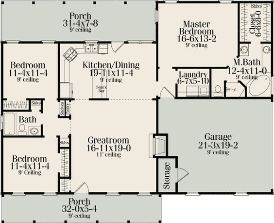 Floor plans  Country house plans and Bedroom country on PinterestPlan V  Split Bedroom Country Ranch