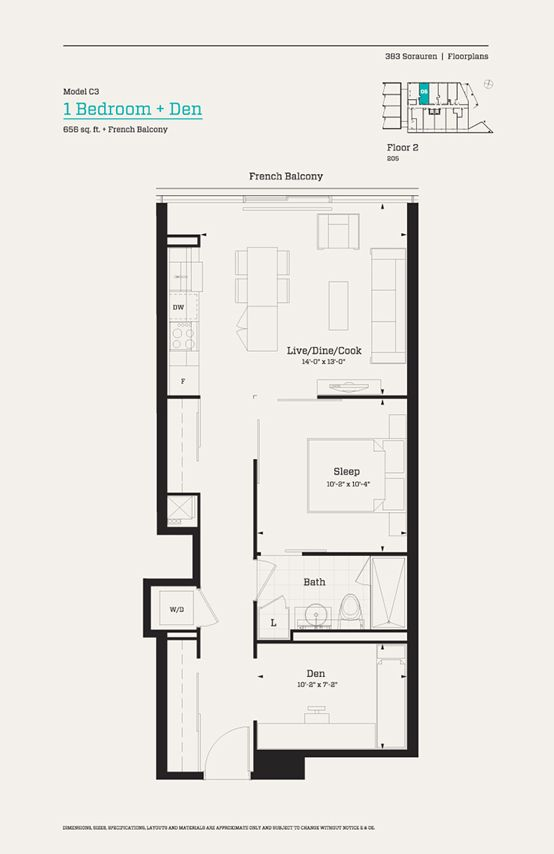 383 Sorauren Floor 2 Model C3 1 Bedroom Den 656 Sq Ft
