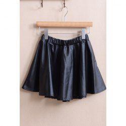 $6.38 Retro Style Ruffle Elastic Waist PU Leather Skirt For Women