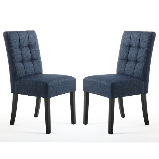 Catria Dining Chair In Polo Blue With Black Legs In A Pair Faux