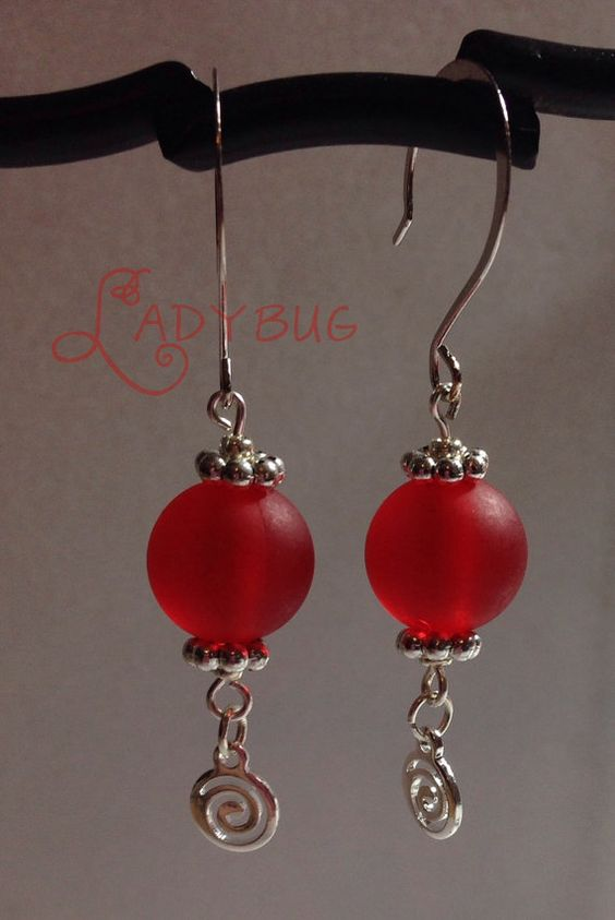 Red bead earrings by CharmingLadybug on Etsy