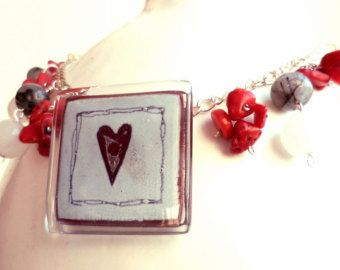 Love gemstone necklace - Red bamboo coral necklace - Black heart necklace - Natural stones necklace and fused glass pendant