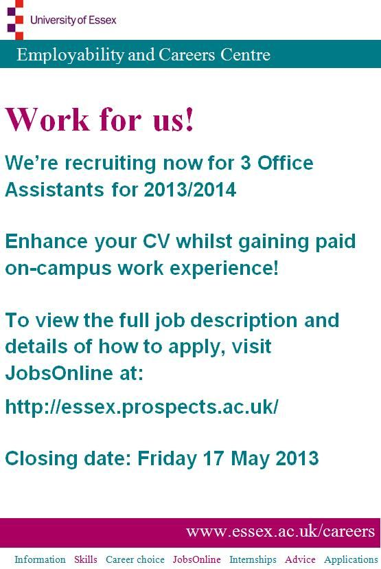 Do you have what it takes to be the next Essex apprentice? Head to - office intern job description