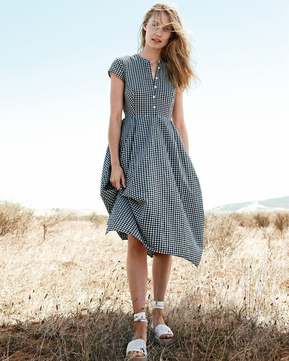 JCrew.com | A gingham dress for a retro chic summer look