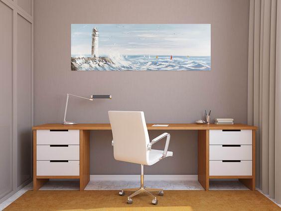 Acryl Gemälde 'Stürmische See' 150x50cm