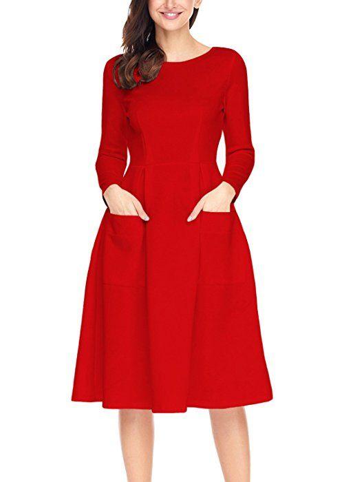 Touvie Damen Kleid Herbst Langarm Freizeitkleid A Linie Midi Kleid Navy Blau L Amazon De Bekleidung Kleider Kleid Arbeit Rotes Kleid
