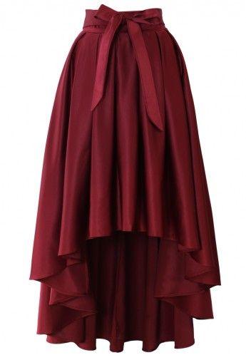 Bowknot Asymmetric Waterfall Skirt in Wine Red