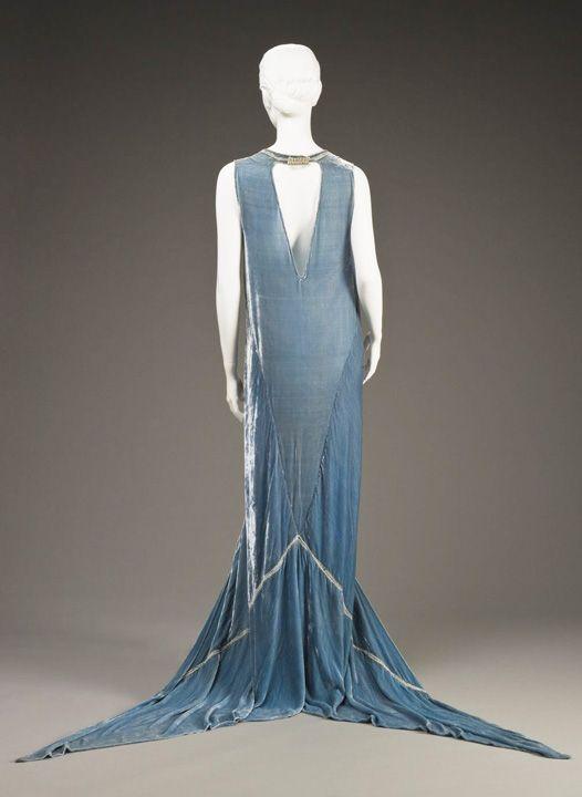 Circa 1920s Callot Soeurs evening dress silk velvet silver ...