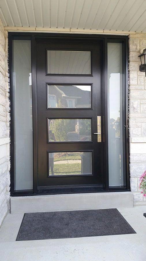 Modern Exterior Door With Multi Point Locks 4 Door Lites And 2 Side Lites Installed In Toronto By Mo Contemporary Front Doors Modern Exterior Doors Modern Door
