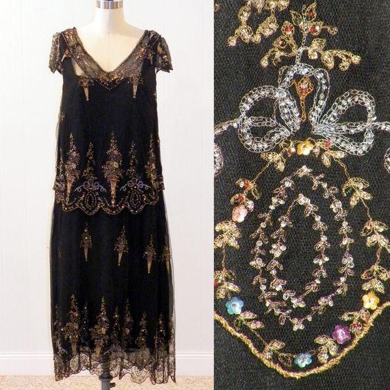 1920s Dress, 20s Metallic Bullion Embroidered & Beaded Flapper Dress, Black Tulle Net 20s Dress, Ornamental Urns Flowers Beadwork Embroidery, via Etsy.