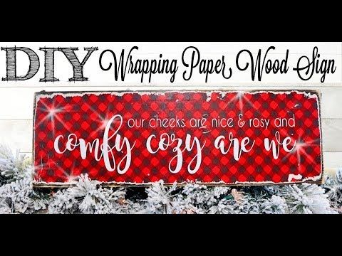 Diy Wrapping Paper Wood Sign 3 Of 12 Days Of Christmas Youtube Diy Wrapping Paper Diy Wrap Wood Signs