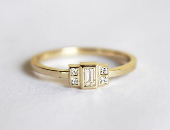 Baguette diamant bague, bague de fiançailles de Baguette, Baguette or bande, princesse diamant bague, bague de fiançailles or 18 k