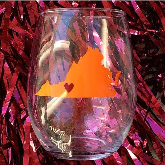 Virginia Tech Wine Glass, Orange and maroon wine glass, virginia tech hokies, by culleycreations
