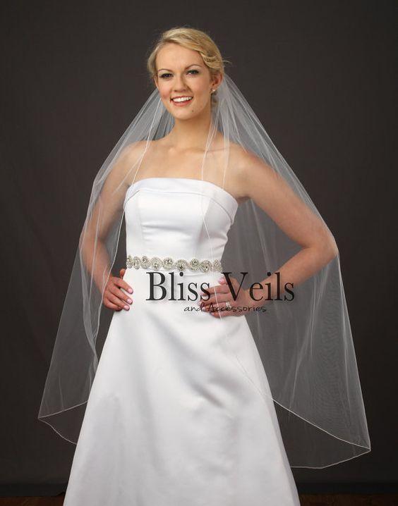 bliss veils on etsy pencil edge wedding veil knee length bridal veil one layer