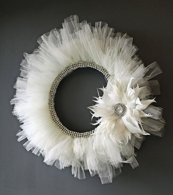 Gorgeous tulle and rhinestone wreath