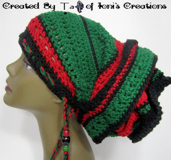 Red Black and Green Gele Wrap with Drawstring by IonisCreations, $45.00