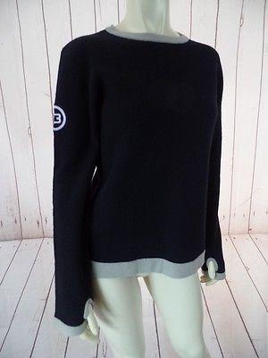 BURTON SNOWBOARDS Sweater M Black Wool Nylon Stretch Pullover Waffle Knit SPORTY