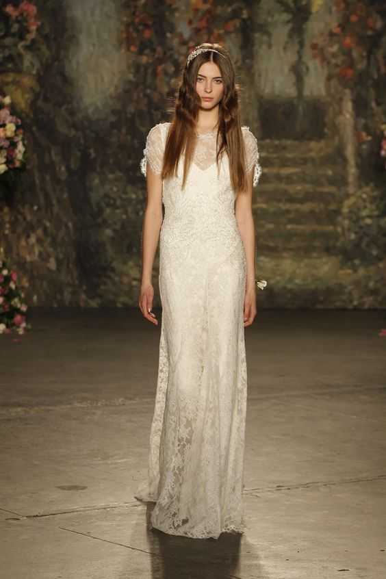 "Lace ""Venetia"" gown with illusion neckline by Jenny Packham Spring 2016 Bridal Collection."