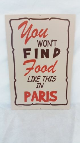 """Hooters Restaurant Sign """"You Don't Find Food Like This In Paris"""" Collectible"""