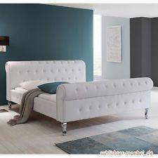 BAROCK PLUS Polsterbett Kunstlederbett Designerbett Bett 140x200 cm Weiß