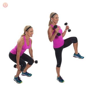 Squat and Bicep Curl at the same time with Alternating Knee Lifts for a  total body workout!
