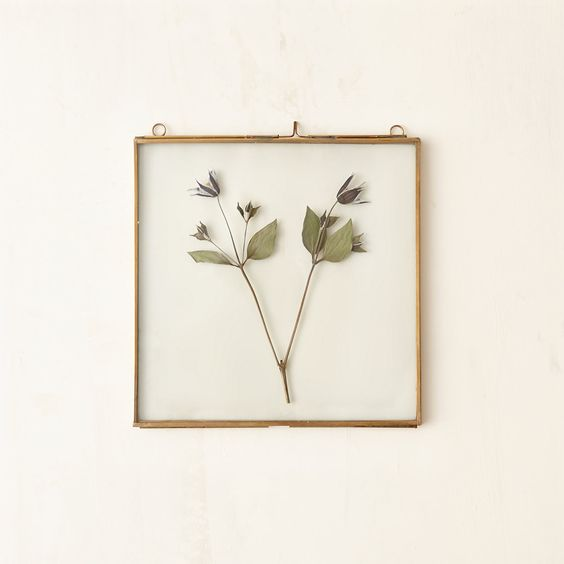 """A bronzed finish lends polished appeal to dried botanicals inside these hanging frames with double glass panes and hinged construction for easy styling.- Brass, glass- Two hanging loops- Imported8""""W, 8""""L"""