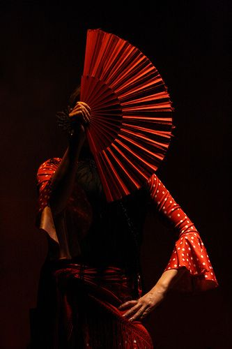 Red fan and girl