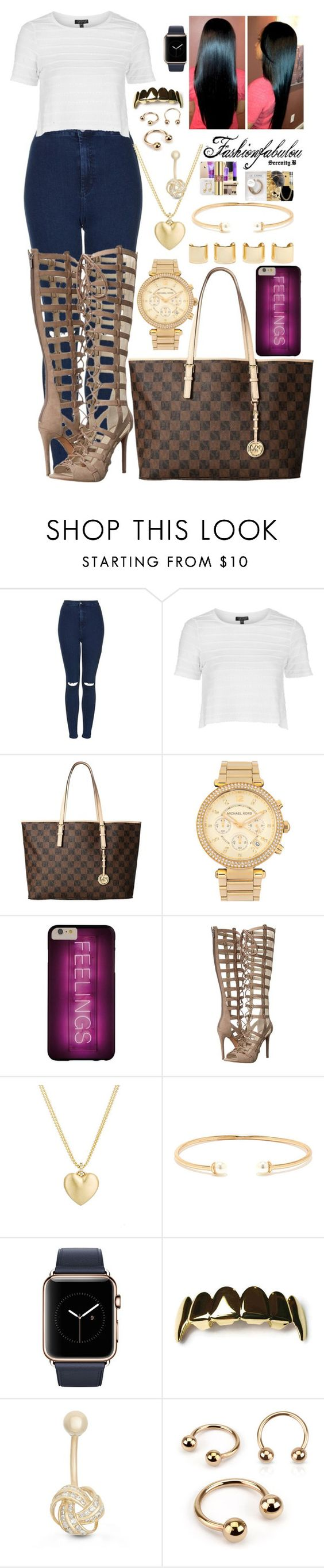 """Gold"" by fashionfabulou on Polyvore featuring Topshop, Michael Kors, Kendall + Kylie, Finn, Lulu*s, Luv Aj and Gioelli Designs"