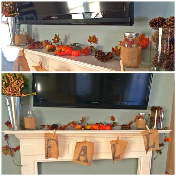 Quick & simple Fall decor for your mantle. Fall sign made from burlap and string. #falldecor #autumn #masonjars