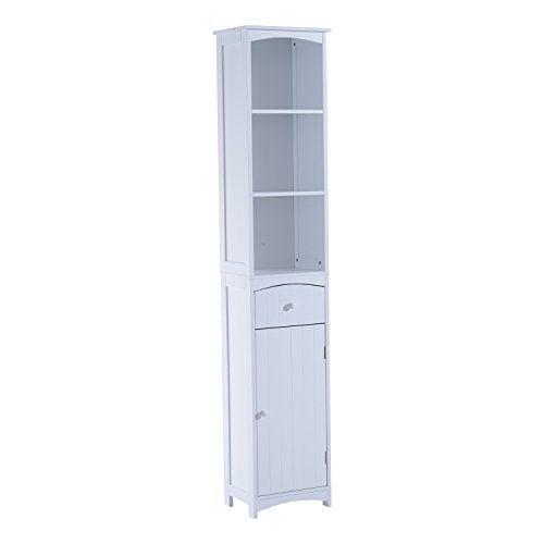 Homcom Tall Bathroom Storage Cabinet Free Standing Shelving