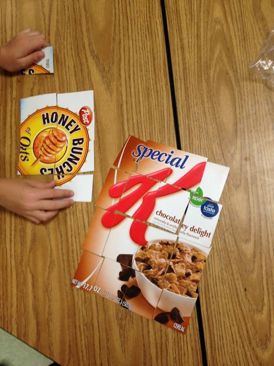 Environmental Print Puzzle...Cereal box puzzles, a great brain break activity.