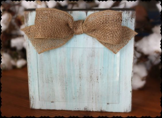 Distressed Light Turquoise and White Chalk Paint Chunky Wood Block 5x7 Picture Frame with Burlap Bow $18 by xBeyondBlessedx