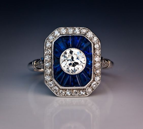 French Art Deco Diamond Sapphire Engagement Ring   From a unique collection of vintage engagement rings at http://www.1stdibs.com/jewelry/rings/engagement-rings/