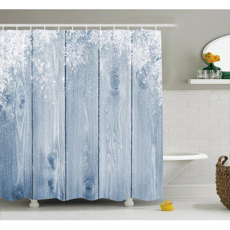 Winter Shower Curtain Frozen Wooden Texture Snowflakes Rustic Inspirations Grunge Retro Designed Print Fabric Bathroom Set With Hooks Bluegrey White By Ambe Rustic Bathrooms Rustic Inspiration Fabric Shower Curtains