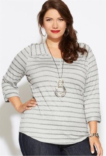 Avenue Plus Size Striped Pullover Henley Tee, Black Stripe 22/24