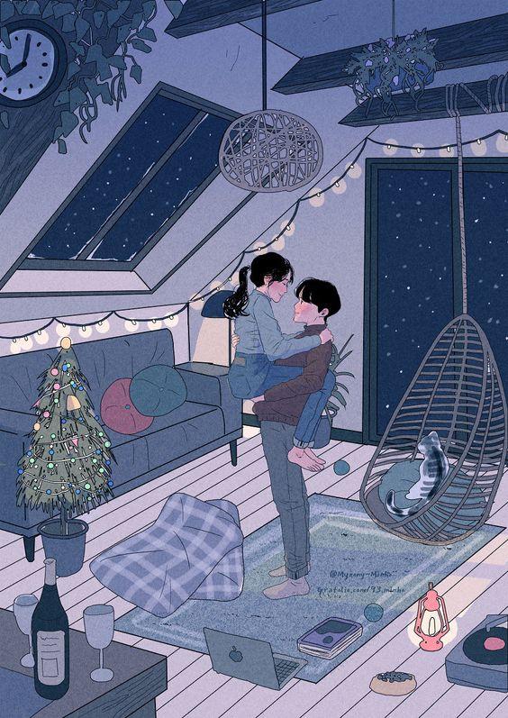 93.MINHO ART - #Couplesgoals Illustration Drawing aesthetic room art bedroom ideas | soyvirgo.com