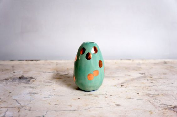 Mint with Copper dots Vase