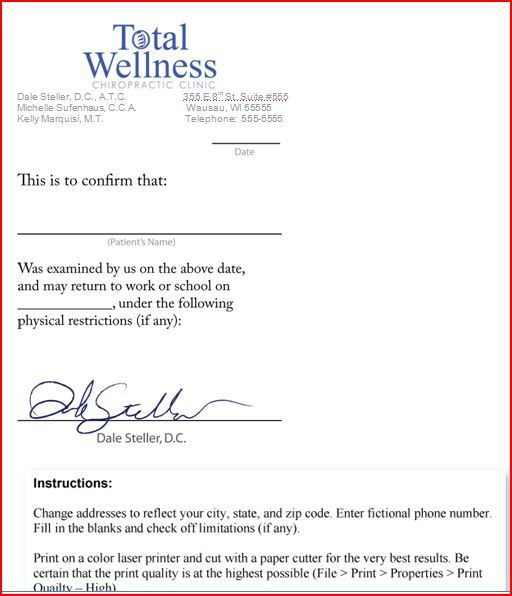 Sample Letter From Doctor About Medical Condition Doctors Note