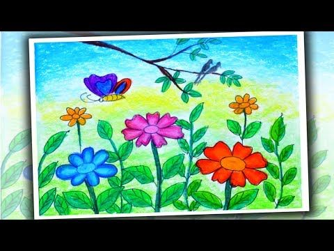 How to Draw Flower Garden Scenery for Kids