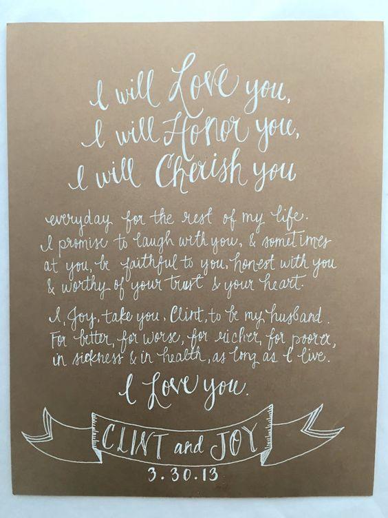 hand written vows wedding vow artwork calligraphy vows