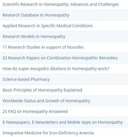 Sample list of Articles in Science-based Homeopathy blog